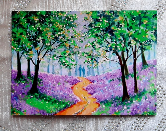 Lovers in the Bluebell wood - Art Card - Romantic - Spring