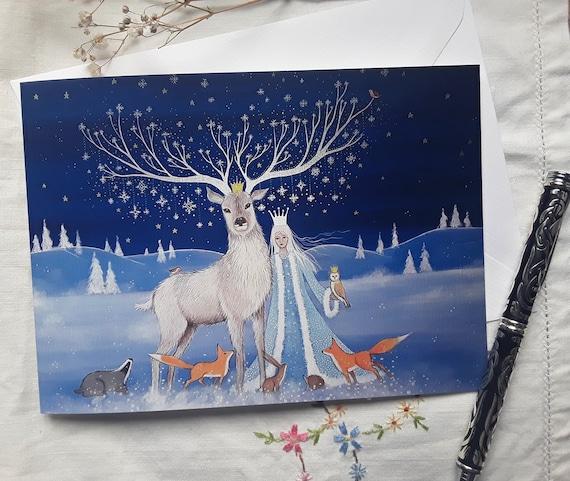 Goddess Card - Winter Goddess - Goddess Art - Snow Queen - Wiccan - Pagan - Mystical