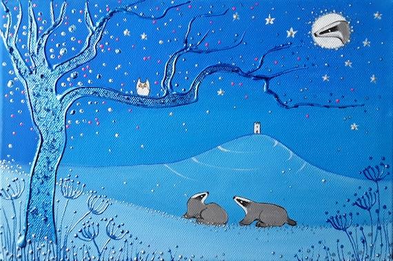 Badger Print - Badger and Tor - Spiritual - Badger Art - Winter badger - Glastonbury Tor - Pagan