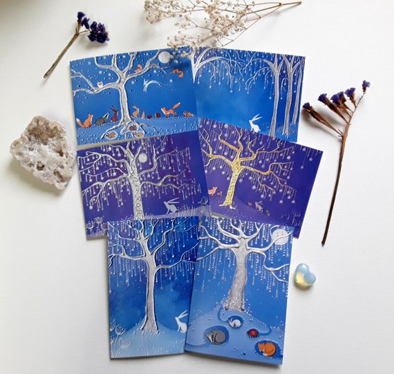 Hare Greeting Cards - Wicca - Moongazing Hare - Star Tree - Hare and Moon - Hare Art - Pagan - Set of Six Cards