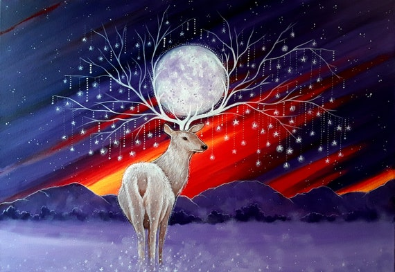 Large Print - Stag Art - Stag - Moon and Stars - Arty Gift - Mystical Art - Spiritual