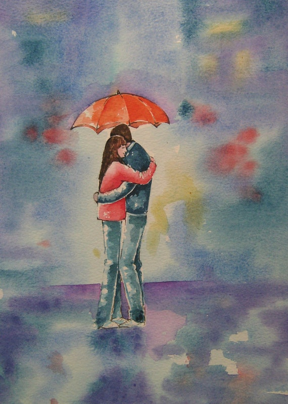 Rainy Day Lovers  - Art Card - Love - Romantic Card