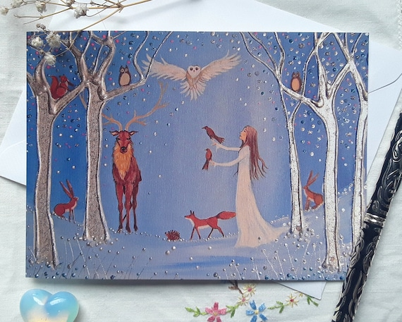 Forest Goddess Card- Goddess Art - Goddess Print - Pagan - Wiccan - Mystical