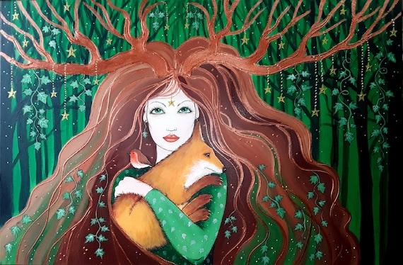 Forest Goddess - Goddess Art - Goddess Print - Pagan - Wiccan - Mystical
