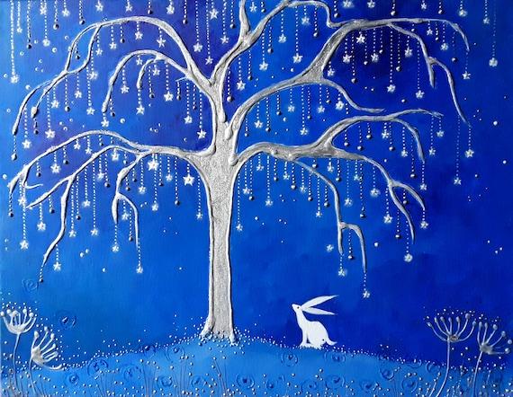 Silver Star Tree High Quality A4 Art Print