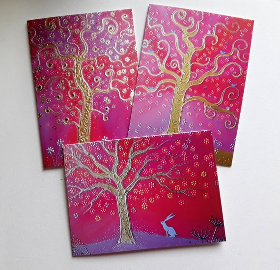 Tree of Life Cards - Pink Cards - Gold Tree - Mystical - Spiritual