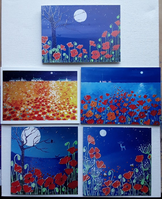 The Night Poppies Collection - Set of Five High Quality Art Cards