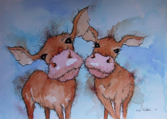 Two Nosey Cows High Quality A4 Photo Art print