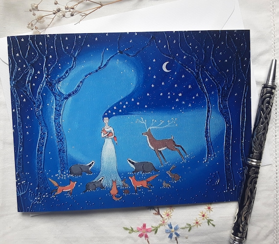 Goddess Card - Night Goddess - Pagan - Wiccan - Mystical Card - Goddess Art
