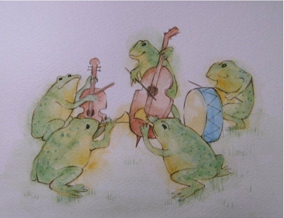 Little Frog band - 10 x 8 print from my original painting