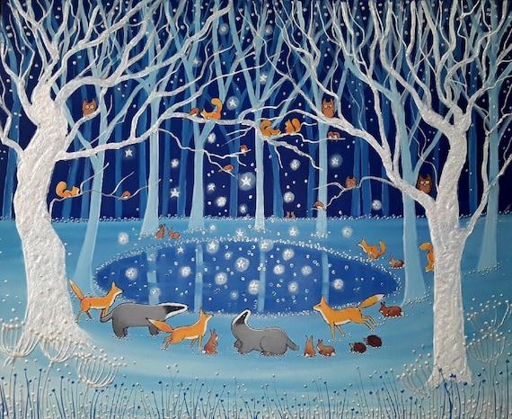 Enchanted Winter Pool - Mystical Art - Woodland Animals - Magical Art