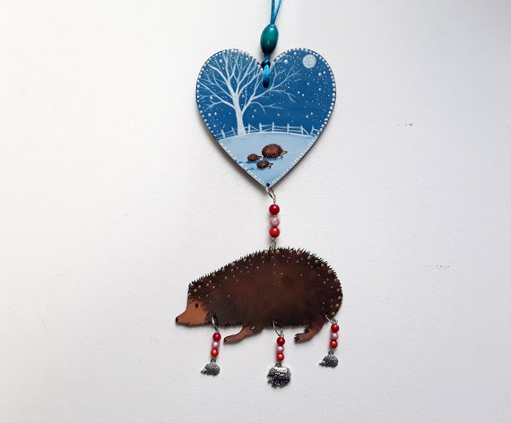 Hedgehogs in Winter -  hanging wooden decoration with beads and charms