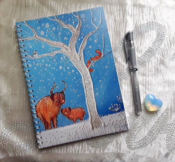 Highland Cow Notebook - Arty Notebook - Stocking Filler - Writers Gift - A5 Notebook