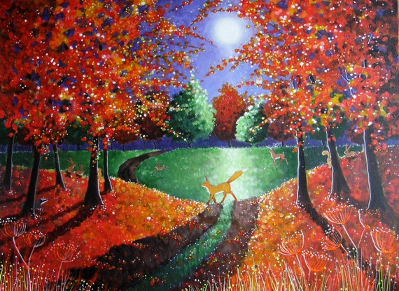 Enchanted Autumn Large Print - Autumn Art - Fox in fall - Large Print