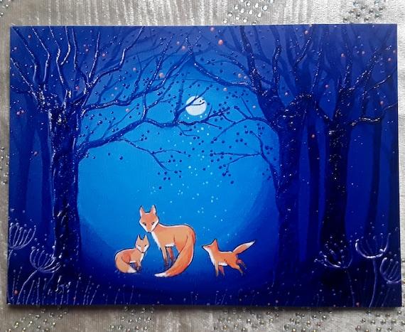 Fox Card - Fox and Cubs - Fox Art - Mystical Fox