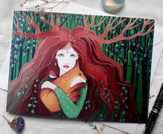 Forest Goddess - Goddess Art - Goddess Card - Pagan - Wiccan - Mystical