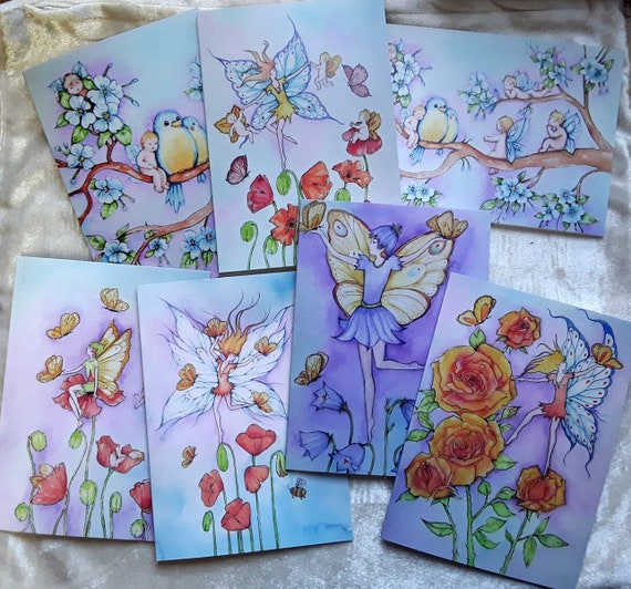 The Flower fairy Collection - Fairy cards - Set of seven cards - Fairy art