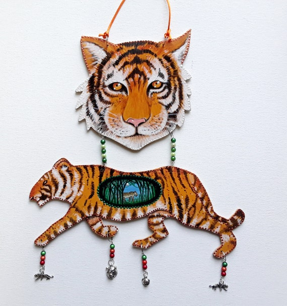 Hand Cut and hand Painted hanging Wooden Tiger Decoration