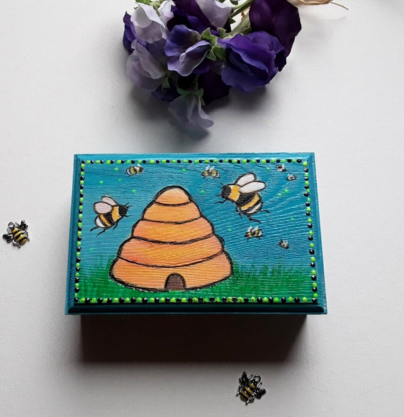 Bee Box - Hand etched and painted embellished bee jewellery box