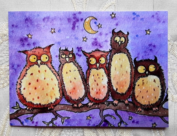 Daft Owls very high quality card from one of my original paintings