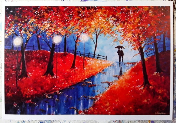 Print titled Autumn Evening Rain - Sinterex Print - High quality art print - Autumn Art - Fall Art - Romantic Art