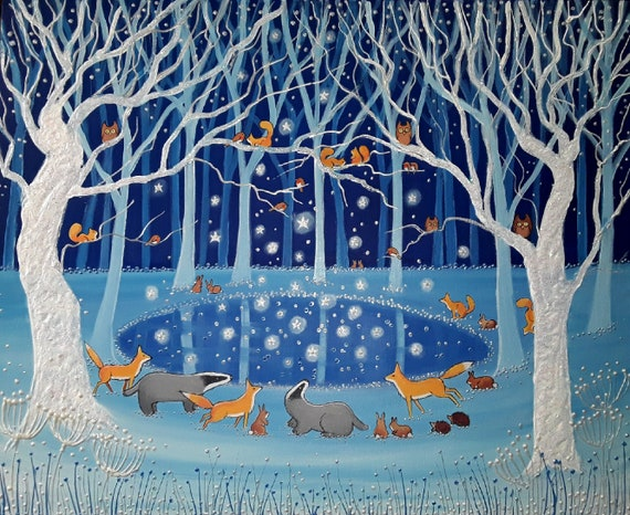 Mystical Pool Art Print - Fox and Badger - Winter Pool Print - A4 Woodland Print