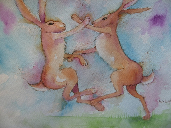 Boxing Hares High Quality A4 Photo Art Print