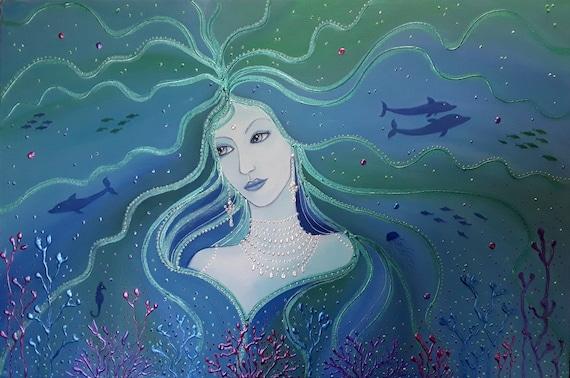 Ocean Goddess, Goddess Art, Undersea art, Dolphins,Coral,Sea Goddess