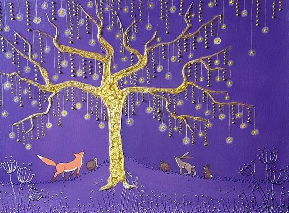 Golden Star Tree - Fox Art - Mystical Art - Enchanted
