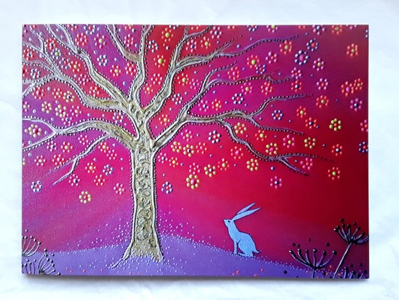 Spirit Hare and the Tree of Life - High quality blank art card