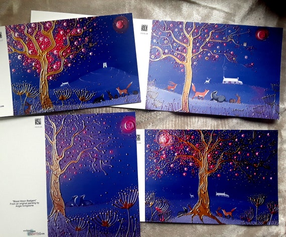 Mystical Moon cards - Blood Moon - Pagan - Wiccan - Blood Moon Cards