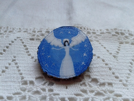 Guardian Angel Unique hand painted wooden brooch