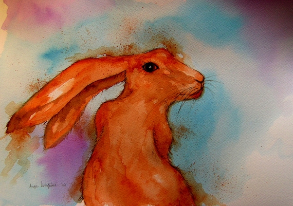 Glancing hare - Very high quality art print