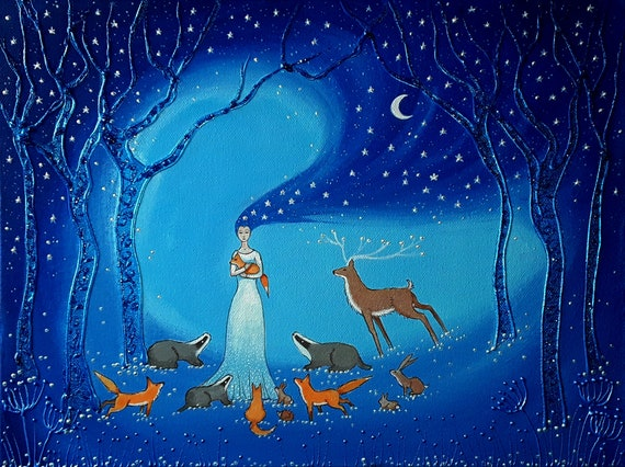 Print titled Goddess of Night - Sinterex Print - Pearlescent Print - Goddess Art - Spiritual Art - Fox Badger Stag art