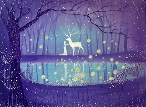 Enchanted Pool - Stag and Goddess - Pagan - Wiccan - Mystical Art
