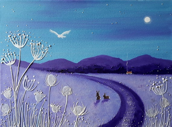 Frosty Winter Morning - Winter Print - Owl and Rabbits - Mystical Landscape