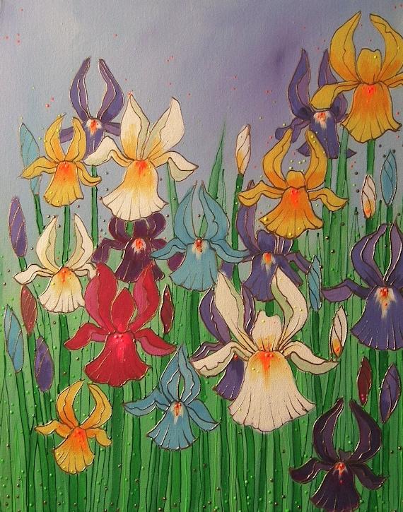 Colourful Irises -  High quality A4 art print