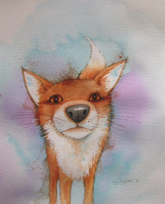 Nosey Fox - Very high quality A4 print.