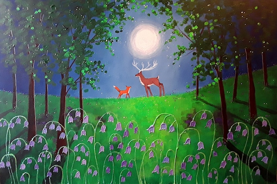 Moonlight Meeting in the Bluebell Wood Sinterex Print