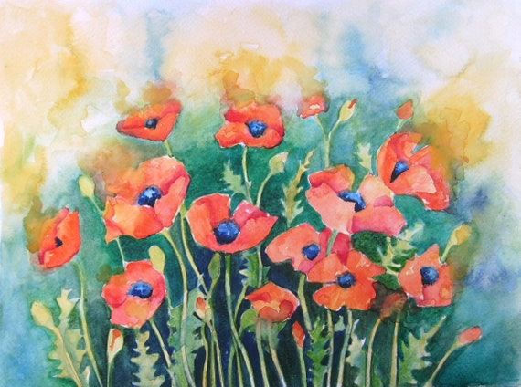 Dancing Poppies - Large Art print - Poppy Art - Watercolour Poppies