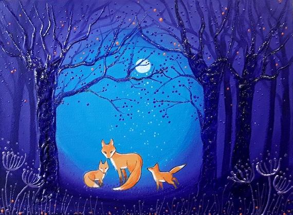 Fox and Cubs - Fox Art - Mystical - Forest Print - Fox Print