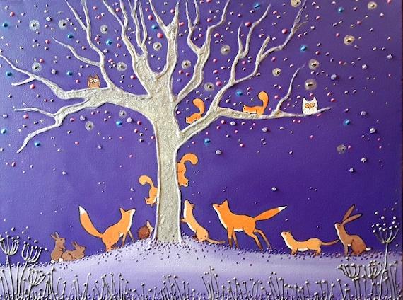 Fox Art - Woodland Print - Mystical - Spiritual - Silver Tree