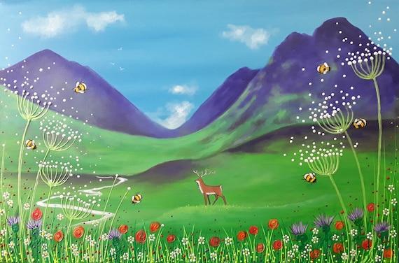 Summer at Glencoe - Scottish Summer Print - Stag and Scottish Landscape