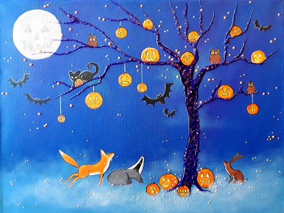 Halloween in the Wildwood - High quality A4 print from my original painting.