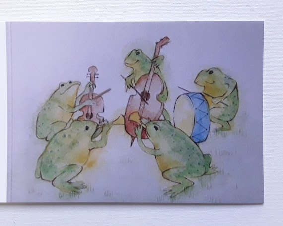 Little Frog Band - Art Card - Greeting Card - Frog Art - Blank Card
