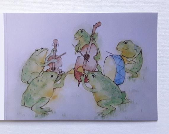Little Frog Band - Art Card - Greeting Card - Frog Art - Blank Card