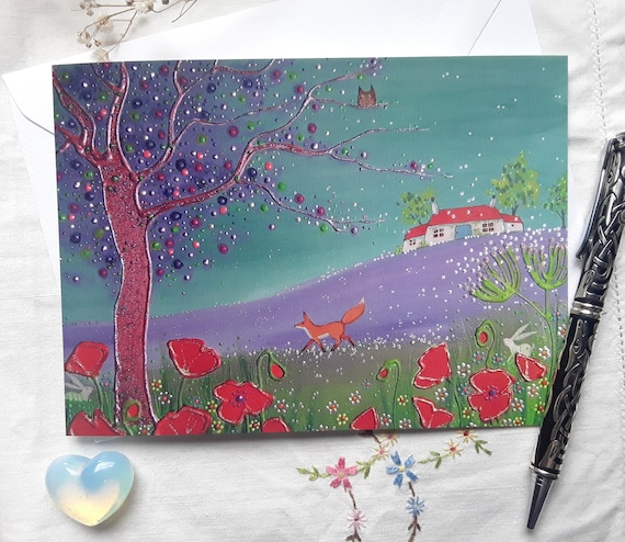 Summer Fox Card - Poppy Card - Summer Art - Mystical Summer