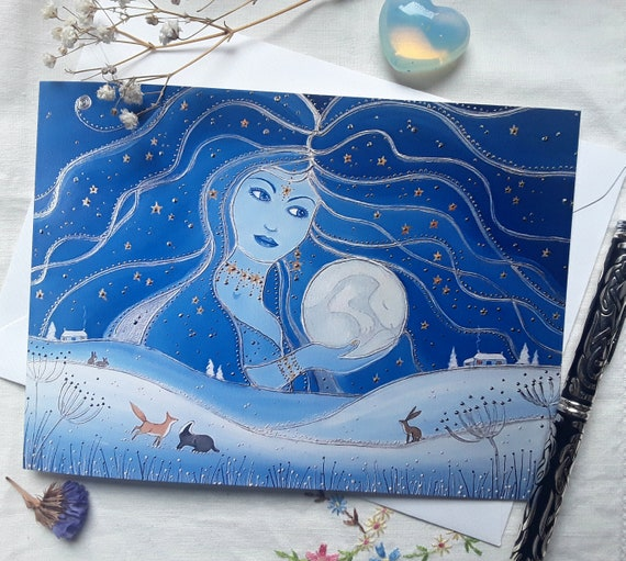 Moon Goddess Card - Night Goddess Art - Hare Moon - Pagan - Mystical - Wiccan