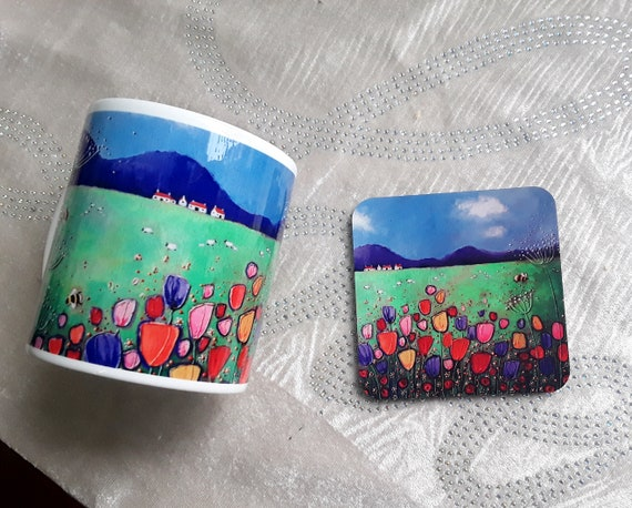 Tulip mug and coaster - Spring Flowers Mug - Mug and Coaster set