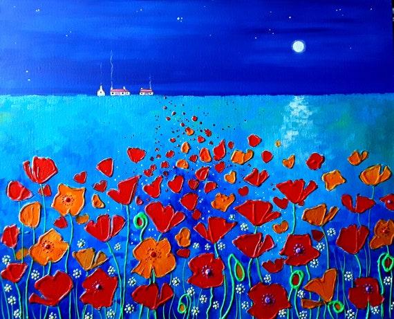 Moonlit Poppies - Poppy art - Poppy print - Evening Poppies